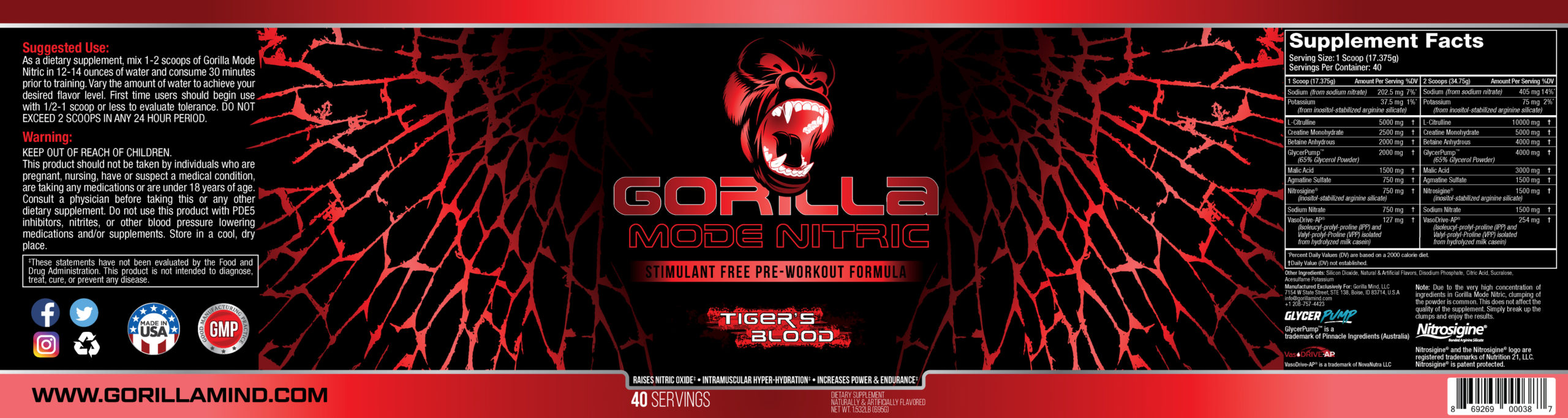 Gorilla Mode Nitric (Tiger's Blood) Label Design